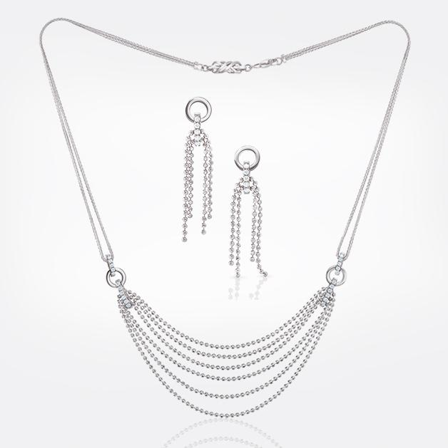 Bridal Platinum Evara Diamond Necklace & Earrings with Diamonds for Women JL PTN 178