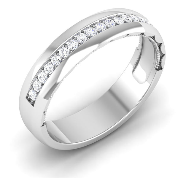 4.5mm Broad Half Eternity Ring with Diamonds in Platinum JL PT 435 in India