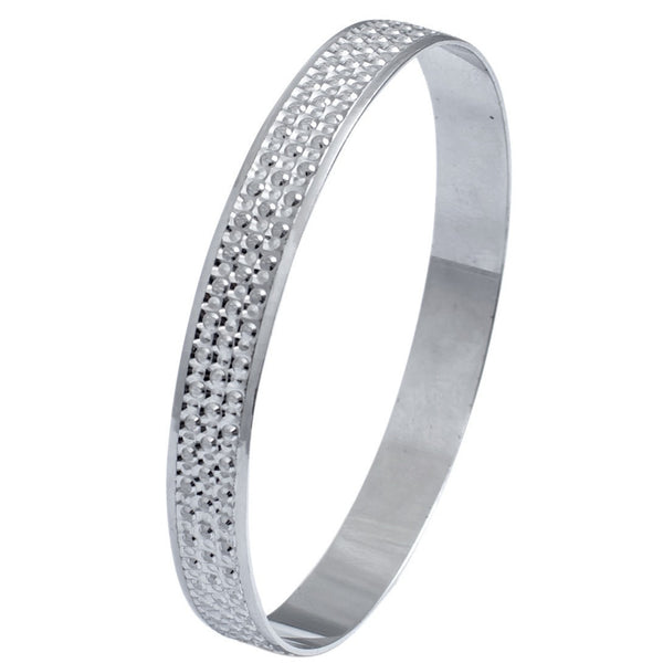 Broad Platinum Bangle with Diamond Cut JL PTB 614 in India