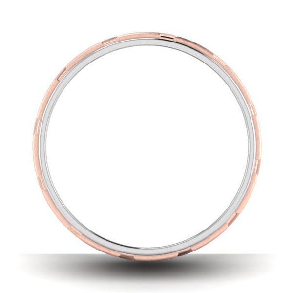 Circle View of Designer Platinum & Rose Gold Couple Rings with Slanting Grooves JL PT 639