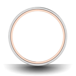 Circle View of Matte Finish Platinum Band with Rose Gold Base JL PT 637
