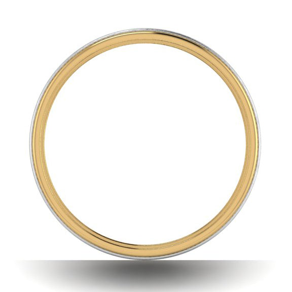 Circle View of Milgrain Edge Platinum & Yellow Gold Couple Rings JL PT 636