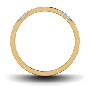 Circle View of Unique Shape Platinum Love Bands with Single Diamond & Yellow Gold Border JL PT 648 - Yellow Gold