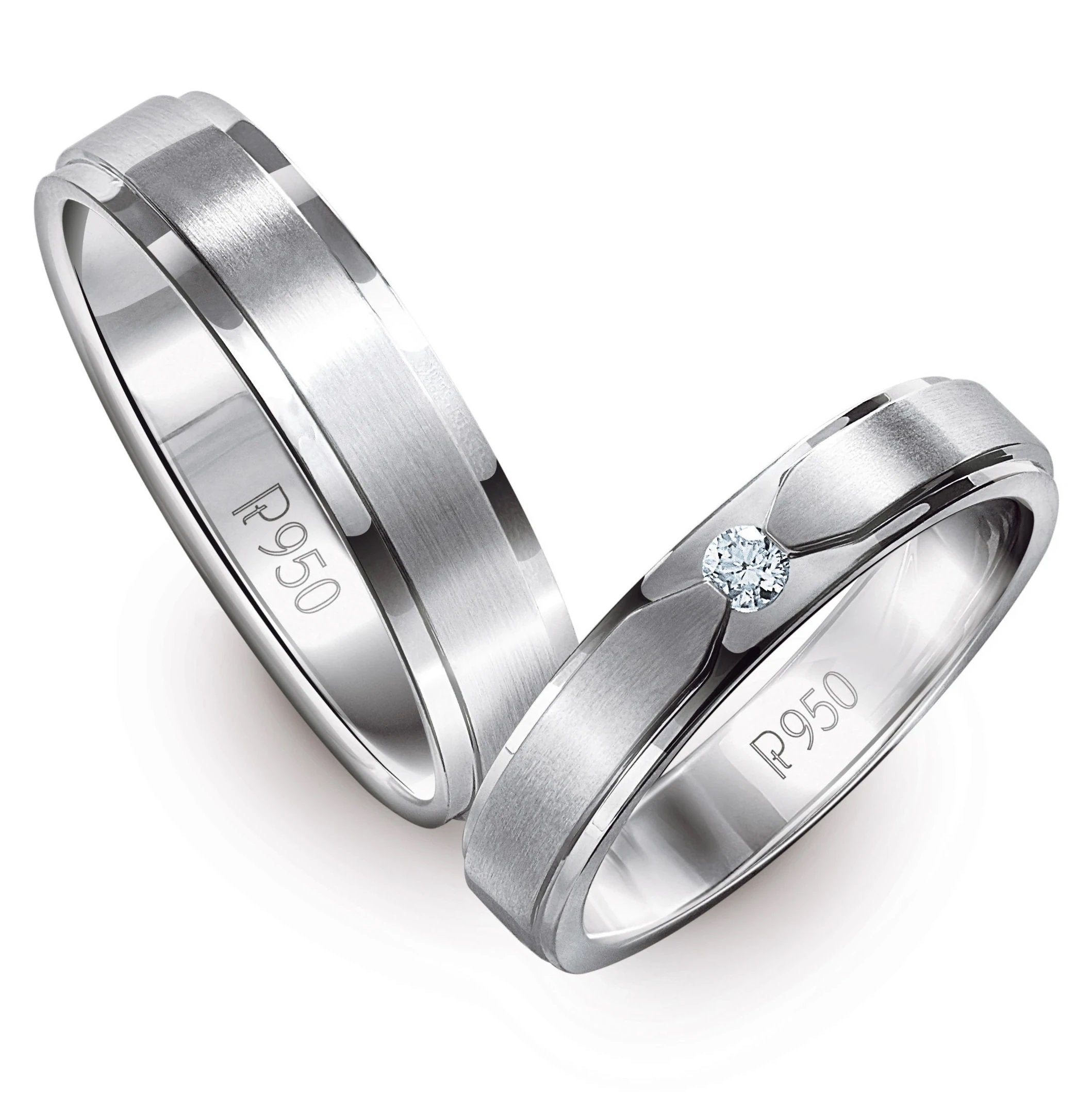 Classic Platinum Love Bands with Matte Finish JL PT 529 Men's Ring is Plain Platinum and Women's Ring Has Single Diamond of 0.05 cts. Both the rings have significant matte finish.