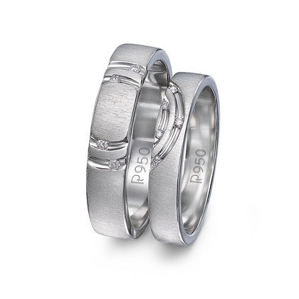 Concentric Circles Platinum Couple Rings with Diamonds JL PT 418 in India