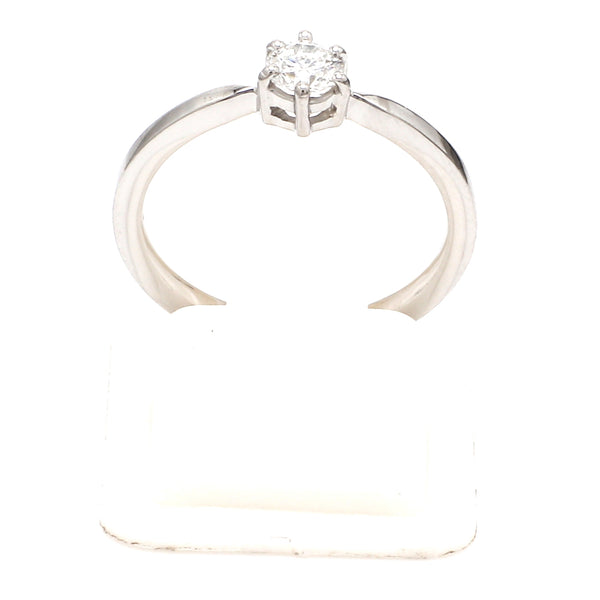 Front View of Customised 25 Pointer Basket 6 Prong Solitaire Ring made in Platinum SKU 0012-A
