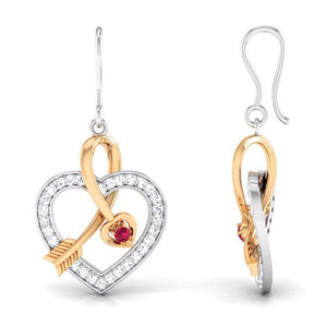 Platinum & Rose Gold Hearts & Diamonds Pendant Set JL PT P 8063