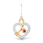 Load image into Gallery viewer, Cupid's Arrow Platinum & Rose Gold Heart Earrings with Ruby & Diamonds JL PT P 8064