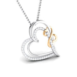 Load image into Gallery viewer, Designer Heart Gold & Platinum Pendant with Diamonds JL PT P 8073