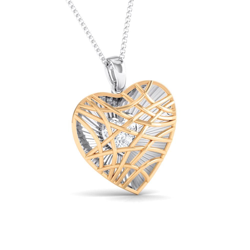 Unique Platinum & Rose Gold Heart Pendant with Diamonds JL PT P 8102