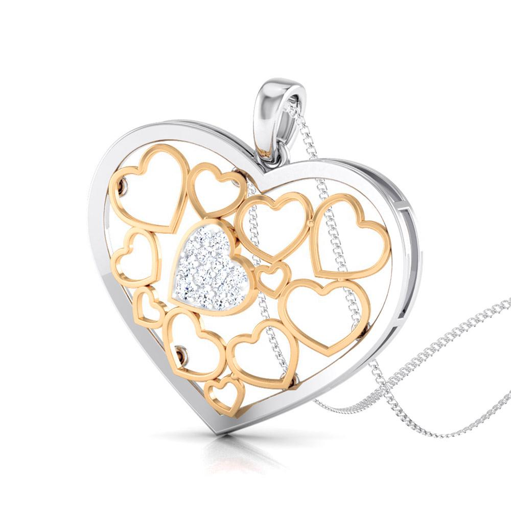 Heart of Hearts Rose Gold & Platinum Pendant with Diamonds JL PT P 8105