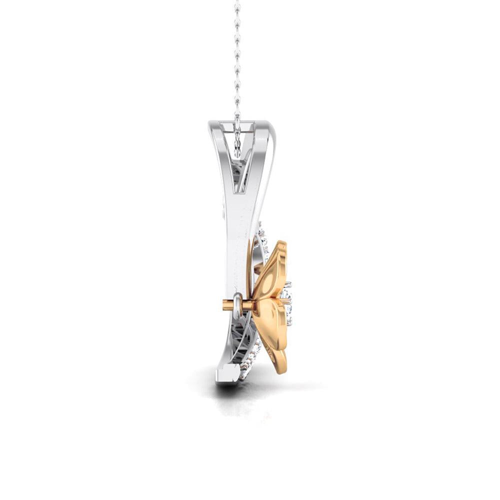 Hearty with a Flower Platinum Pendant with Diamonds JL PT P 8110