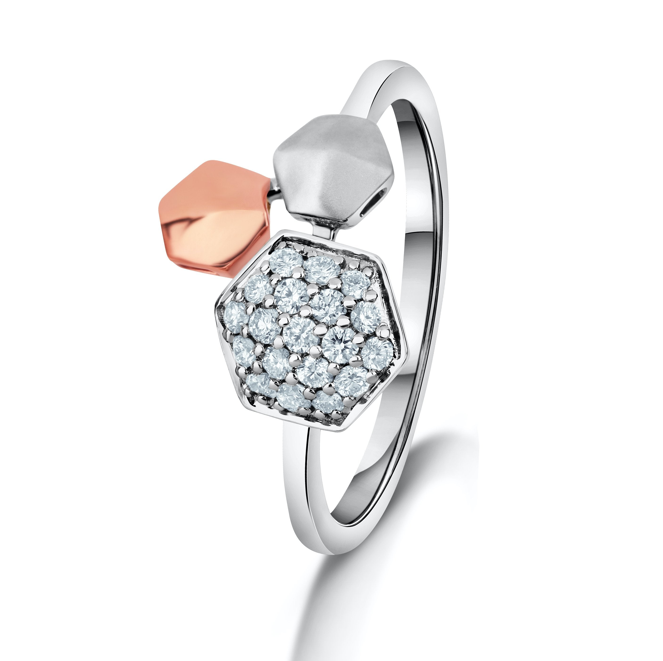 Hats off to Women | Hexagonal Platinum & Rose Gold Ring for Women with Diamonds JL PT 987