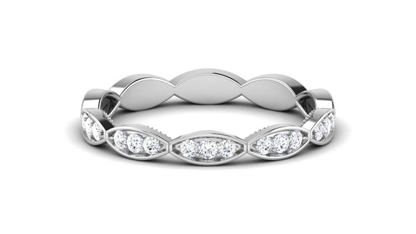 Designer Half Eternity Platinum Ring with Diamonds JL PT 442 in India