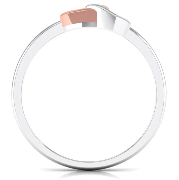 Circle View of Entangled Heart Simple Platinum & Rose Gold Ring for Women JL PT 549