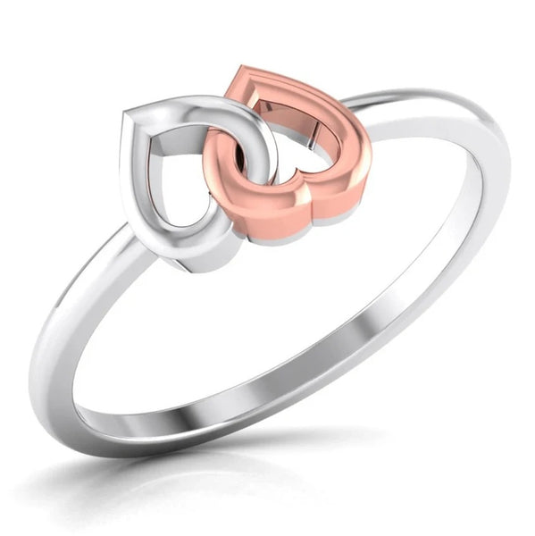 Perspective View of Entangled Heart Simple Platinum & Rose Gold Ring for Women JL PT 549