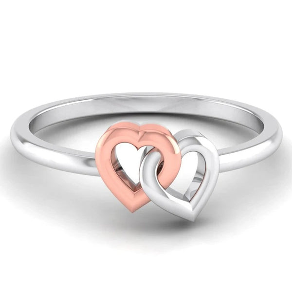 Entangled Heart Simple Platinum & Rose Gold Ring for Women JL PT 549