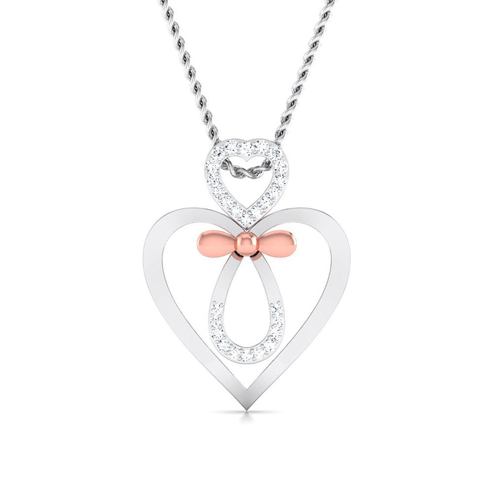 Designer Platinum and Rose Gold Double Heart Bow Pendant with Diamonds JL PT P 8082