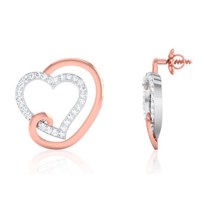Platinum & Rose Gold Heart Earring with Diamonds JL PT E 8088