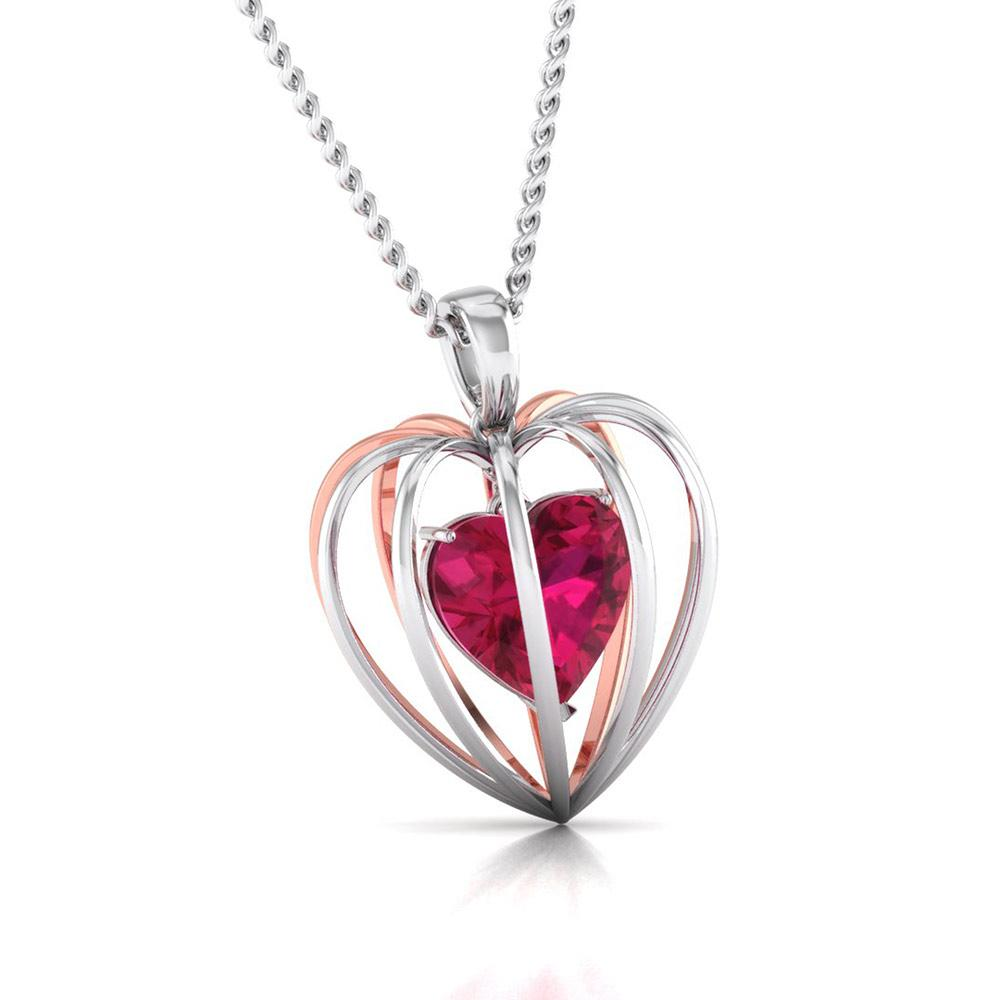 3D Pendant Set Platinum of Rose Heart Pendant Set with Diamonds JL PT P 8072
