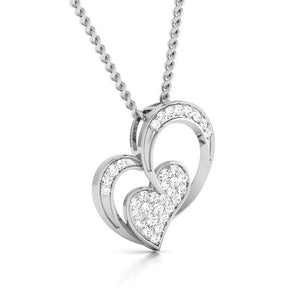 Platinum 2 Heart Pendant with Diamonds JL PT P 8089