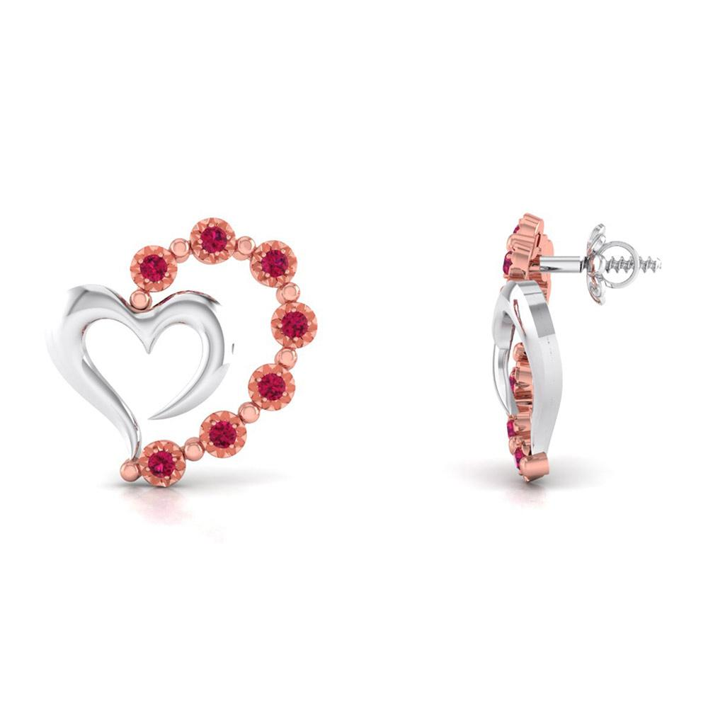 Platinum & Rose Gold Heart Earrings with Rubies JL PT E 8240