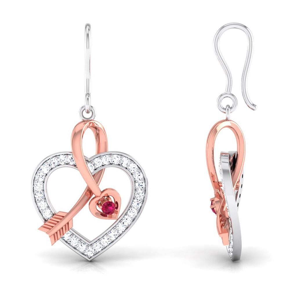 Cupid's Arrow Platinum & Rose Gold Heart Earrings with Ruby & Diamonds JL PT P 8064