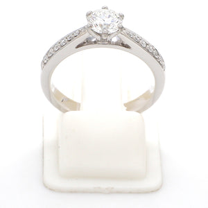 Front View of Customised Platinum Diamond Solitaire Ring JL PT 917
