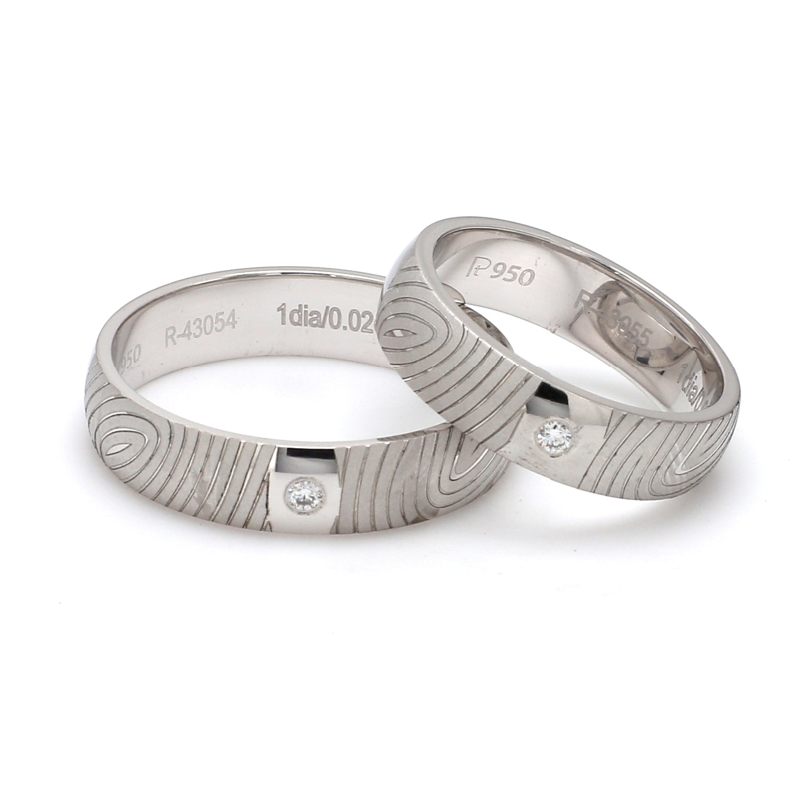 Front View of Customized Fingerprint Engraved Platinum Rings with Diamonds for Couples - Copy