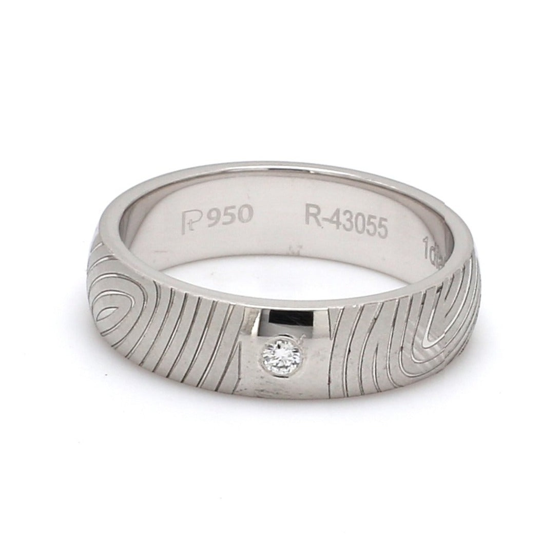 Front  View of Customized Fingerprint Engraved Platinum Rings with Diamonds for Women