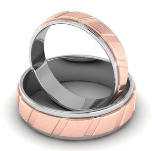Front View of Designer Platinum & Rose Gold Couple Rings with Slanting Grooves JL PT 639