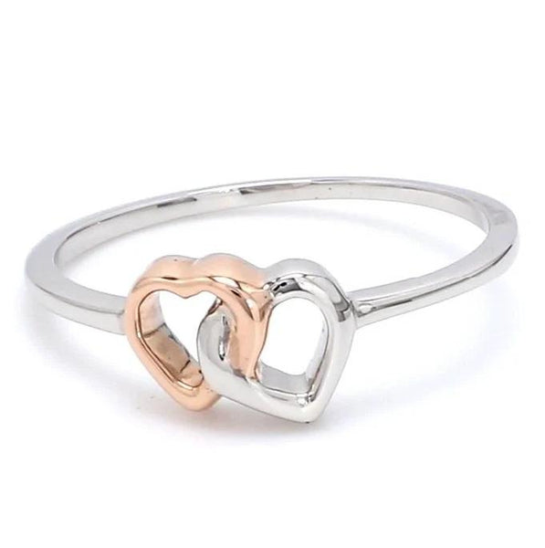 Front View of Entangled Heart Simple Platinum & Rose Gold Ring for Women JL PT 549
