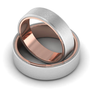 Front View of Matte Finish Platinum Band with Rose Gold Base JL PT 637