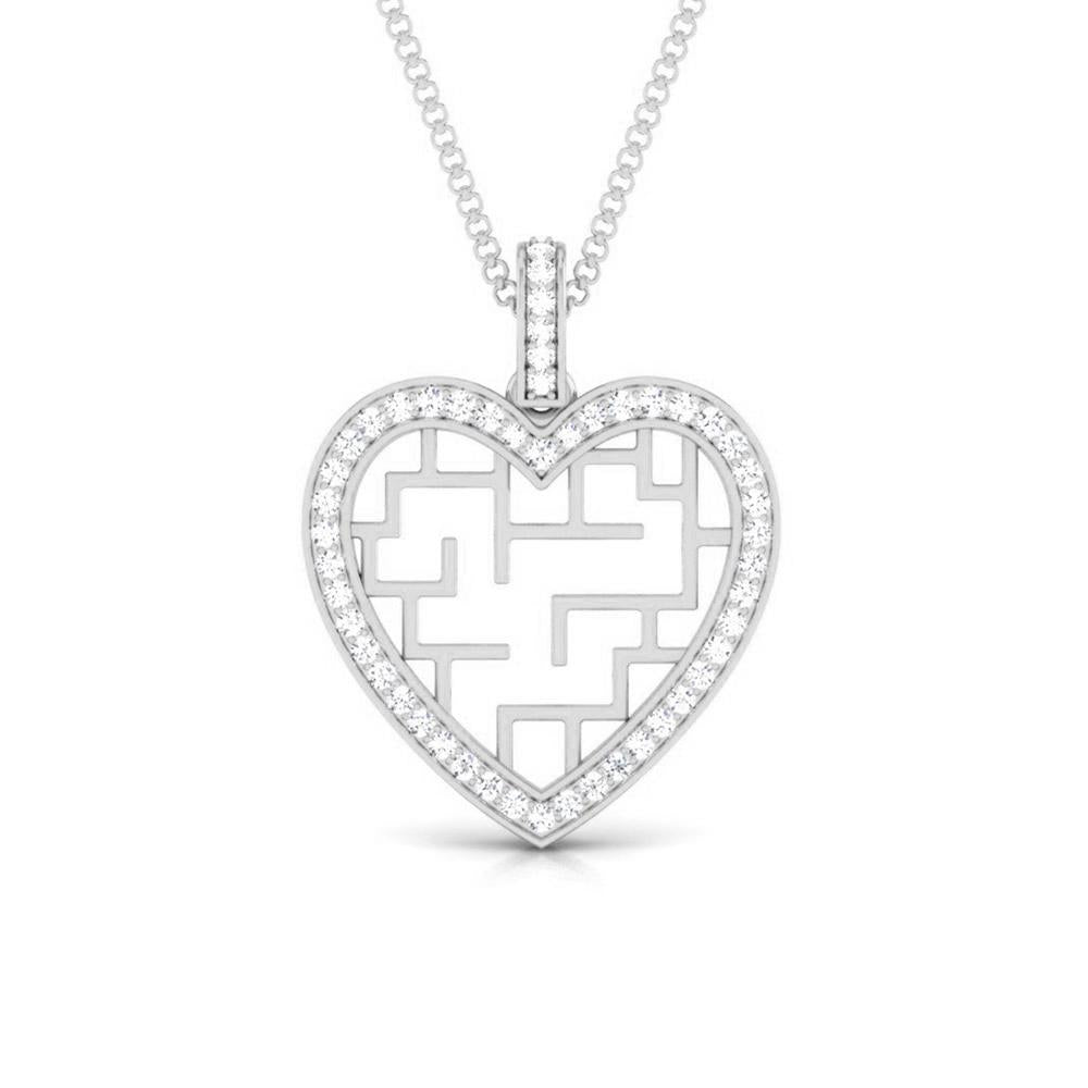 Stairs to Her Heart Platinum Pendant with Diamonds JL PT P 8202