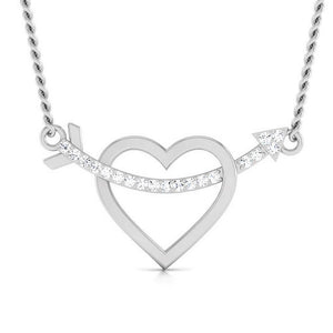 Platinum Arrow through the Heart Pendant with Diamonds JL PT P 8079