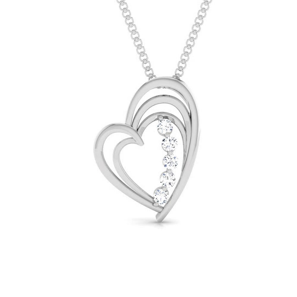 5 Diamond Platinum Heart Pendant with Diamonds JL PT P 8097