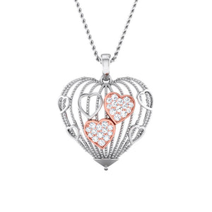 Designer Heart of Hearts Rose Gold Platinum Pendant with Diamonds JL PT P 8000