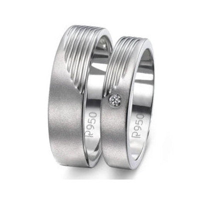 Matte Finish Platinum Love Bands with Parallel Lines JL PT 421