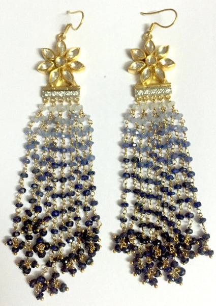 Fusion Diamond Polki Earrings with Sapphire Hangings JL AU 1007 - Suranas Jewelove  - 1