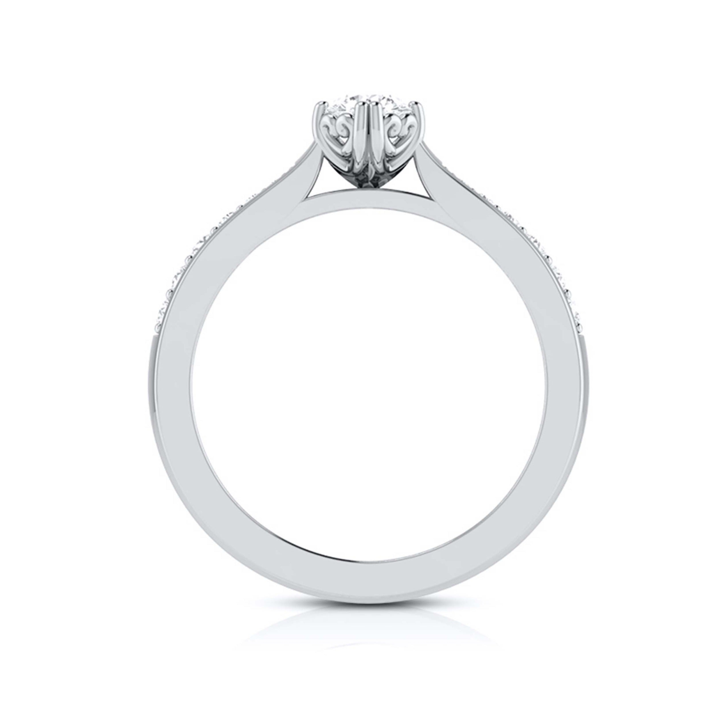 Beautiful Hidden Hearts 30-Pointer Platinum Solitaire Engagement Ring with Accent Diamonds JL PT G-107