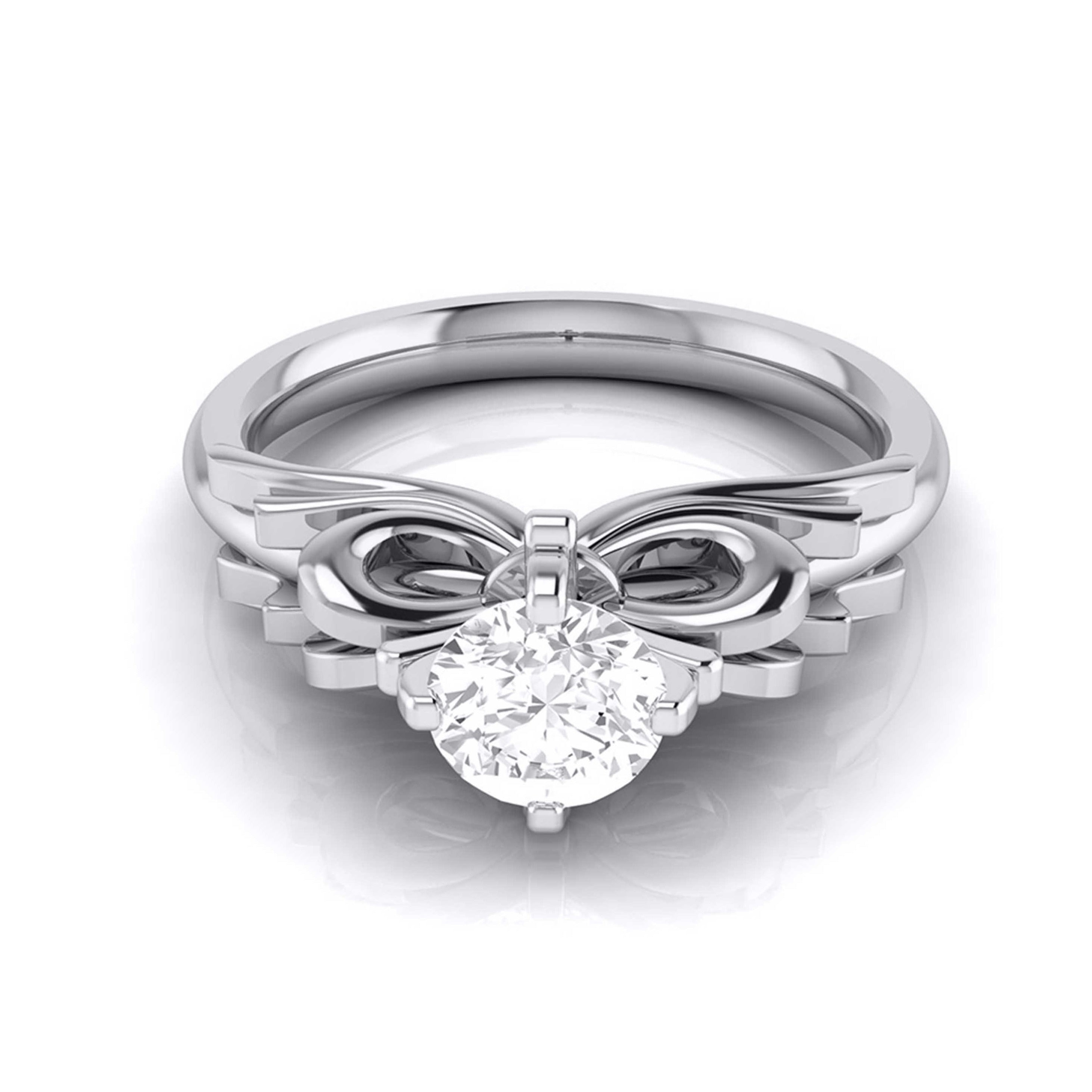 Designer 0.50 cts. Platinum Bow Solitaire Engagement Ring JL PT G-108