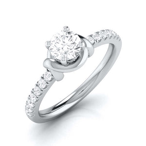 Designer Platinum Solitaire Engagement Ring for Women with Diamond Accents JL PT G-113
