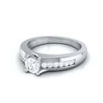 Load image into Gallery viewer, Platinum Solitaire Engagement Ring for Women with Accent Diamonds JL PT G-119