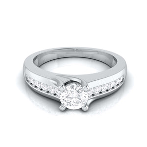 Platinum Solitaire Engagement Ring for Women with Accent Diamonds JL PT G-119