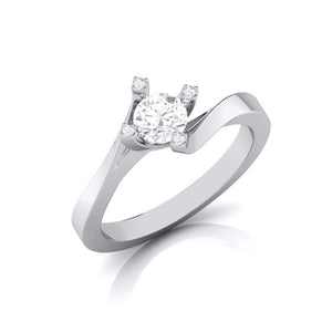 Designer Platinum Solitaire Engagement Ring with Diamond Studded Prongs JL PT G-122