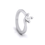 Load image into Gallery viewer, Designer Platinum Solitaire Engagement Ring with Diamond Studded Prongs JL PT G-122
