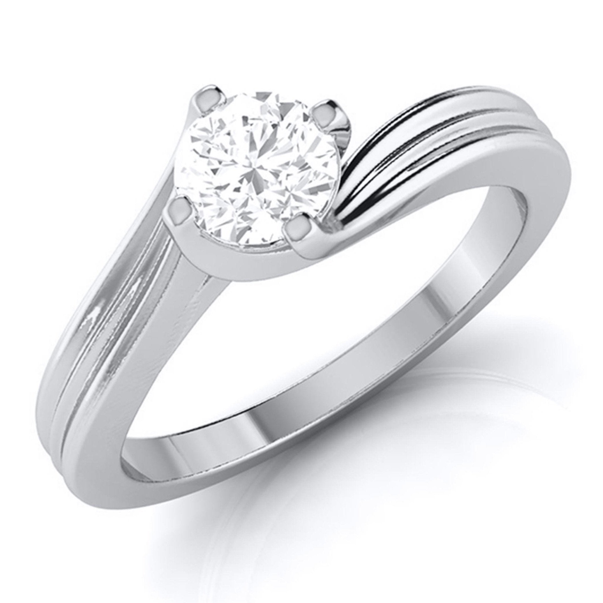 Curvy 0.40 cts. Platinum Solitaire Engagement Ring for Women JL PT G-124