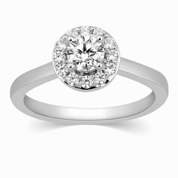 30 Pointer Halo Diamond Platinum Engagement Ring JL PT 324 in India