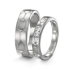 Hexagonal Textured Platinum Love Bands JL PT 422 in India