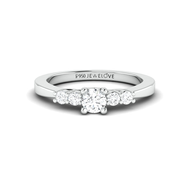 30 Pointer Solitaire Platinum Ring with Diamond Accents for Women JL PT 323